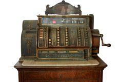 Original antique mahogany standing cash register made by National Cash Register