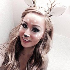 Halloween Costume & Makeup Ideas - Cute Deer makeup + DIY headband