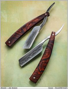 Honayki custom straight razors by Joe Edson in ironwood burl scales