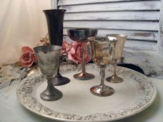 Vintage Silver Plate Goblets Set of 5 Goblets by WillowsEndCottage, $40.00