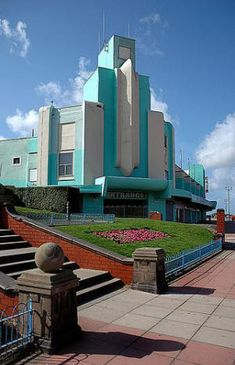 """Brighton, UK- the stunning art deco of new brighton best recognised by the now bright spot amusements centre."""