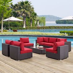 Convene 8 Piece Outdoor Patio Sectional Set, Espresso Red - Gather stages of sensitivity with the Convene outdoor sectional series. Made with a synthetic rattan weave and a powder-coated aluminum frame, Convene is a versatile outdoor collection that shifts and combines according to the spontaneous needs of the moment. Outfitted with all-weather fabric cushions, leave a positive impression on friends and family while enhancing your patio, backyard or poolside repast in this series of palpable…