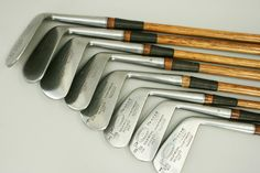 25257 Full Set of Golf Clubs, Hickory Irons, Forgan.