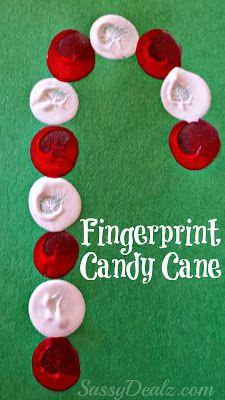 Fingerprint Candy Cane Craft For Kids