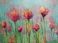 beverly_fagan_gilbertson_floral lineup.     Attempt as a drip painting?