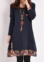 Pocket Decorated Long Sleeve Straight Dress   lulugal.com - USD $21.36