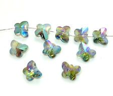 10pcs Faceted butterfly crystal glass Loose beads 10mm green