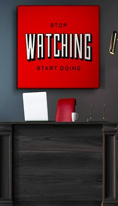 IKONICK Stop Watching Motivational Canvas Wall Art, Inspiration Collection for Office and Home Decor, Inspiring Canvas Art - x Depth No Frame Motivational Images, Black And White Canvas, Life Images, Canvas Wall Art, Pop Culture, Poster Prints, Frame, Artwork, Inspiration