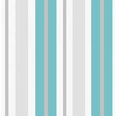 Fine Decor Ceramica Stripe Wallpaper Teal / White / Silver (FD40378)