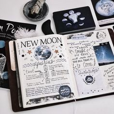 mindful_hookup New Moon in Aquarius in my Book of Shadows. What intentions do you have that you would like to manifest? The power of the moon is on your side 🌙🌟🌙🌟 Album Journal, Bullet Journal Notebook, Scrapbook Journal, Bullet Journal Ideas Pages, Bullet Journal Inspiration, Journal Pages, Journals, Grimoire Book, Bullet Journal Aesthetic