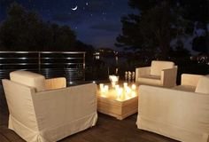 Outdoor living room with candles (:
