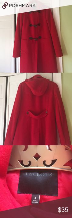 Talbots red toggle coat Excellent condition toggle coat with removable hood. Love this coat but another for Christmas. Talbots Jackets & Coats