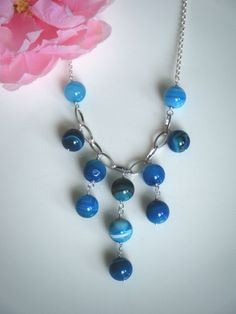Blue textured agate and sterling silver necklace!