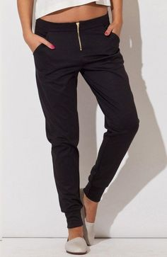Katrus K153 black pants at the same time elegant and athletic pants that are the perfect complement for any styling. #fashion #black #elegant #women #pants #sports