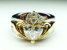 Claddagh Two-Tone Heart Diamond Engagement Ring