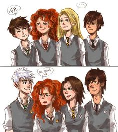 I like this. For those who don't know, this is Jack Frost, Merida, Rapunzel & Hiccup.