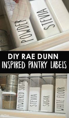 Here's how to DIY some trendy Rae Dunn inspired farmhouse style pantry decals! Here's how to DIY some trendy Rae Dunn inspired farmhouse style pantry decals! Farmhouse Style Kitchen, Modern Farmhouse Kitchens, Farmhouse Decor, Farmhouse Design, Diy Kitchens, Country Decor, Country Furniture, Country Farmhouse, Rustic Kitchen