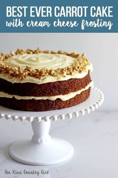 My all time favourite Carrot Cake recipe - loaded with grated carrot, crushed pineapple and crunchy walnuts and smothered in cream cheese frosting, this will become your favourite carrot cake recipe too! #thekiwicountrygirl #carrotcake #easter #spring #cakes #baking