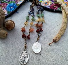 Our Lady of Mercy on Chakra Rosary Style Chain on Vegan Leather, Handmade, OOAK by SaracenProvisions on Etsy