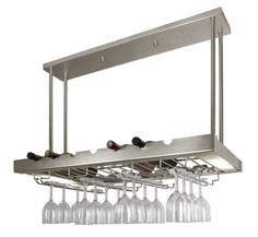 Lighted Hanging Wine Rack with Glass Storage