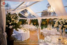 Wedding reception in the gardens of beautiful Villa Giuseppina with crystal marquee. Picture by Gabriele Basilico ©