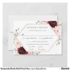 Wedding Rsvp, Blush Pink, Greenery, Burgundy, Floral, Cards, Light Rose, Flowers, Maps