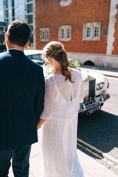 Bride wears sequin Charlie Brear separates. Miss Gen Photography Hatton Garden, Bridal Separates, Different Dresses, First Dance, I Dress, Our Wedding, Groom, Reception, Sequins
