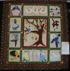 12 days of Christmas Quilt, except there's nothing behind this pin. I would so love to own this pattern! Twelve Days Of Christmas, Winter Christmas, Merry Christmas, Rose Of Sharon, Applique Quilts, Pattern Blocks, Preschool Activities, Quilt Blocks, Christmas Quilting