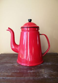 Vintage Country Kitchen Red Enamel Coffee Pot Made in Denmark. $32.00, via Etsy.