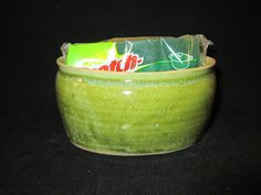 oval bowl sponge holder in lime green by BurntMillPotters on Etsy (Home & Living, Kitchen & Dining, Kitchen Storage, Jars & Containers, pottery, stoneware, bowl, oval, holder, kitchen, dishwasher, safe, sponge, green, mint, seafoam)