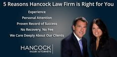 Tampa car accident attorneys at Hancock Law Firm help victims of car accidents receive maximum compensation for their claim. No FEES until we WIN your case!