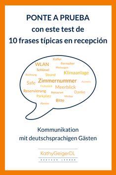 Si sabes alemán y trabajas en recepción de hotel haz este test y cuéntame cómo te ha ido.  #atenciónalcliente #aprenderalemán Mini Bars, Restaurant, Learn German, Vocabulary, Learning, Communication, Diner Restaurant, Restaurants, Dining