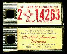 1952 New Mexico DAV Tag