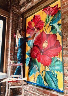 Mural Wall Art, Graffiti Wall, Mural Painting, Diy Wall Art, Paintings, Flower Mural, Flower Art, Wall Drawing, Art Drawings