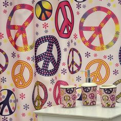 Girly Peace Sign Bath Accessory  Piece Set Overstock Shopping