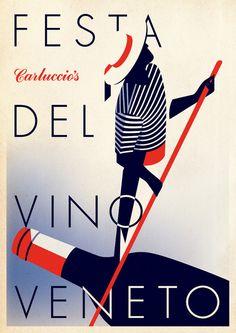 Poster design to celebrate Carluccio's Venetian wine promotion. In collaboration with Malika Favre.