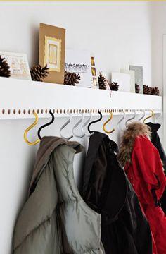 Great idea for when you have guests over... just add hooks for easy convenient coat hangers!