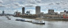 """View from Waterloo Bridge London of the Thames, of """"Walkie Talkie"""" Tower (far left)"""