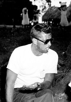 Robert Mitchum on the set of Heaven Knows, Mr. Allison (1956)