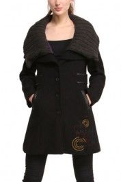 Desigual women's Olga coat. It's unlikely you'll feel the cold this winter in this coat with a shawl collar.
