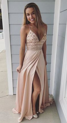 Pink Prom Dress,Sexy Prom Dress,Spaghetti Straps Beaded Long Prom Dress,Sheath Evening Dresses With Slit Side Beige Prom Dresses, A Line Prom Dresses, Cheap Prom Dresses, Dance Dresses, Women's Dresses, Prom Gowns, Split Prom Dresses, Prom Dresses For Teens, Cheap Dress