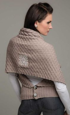 I love this back button closure for shrugs/shawls!  How clever.  Could totally do.