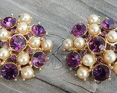 Vintage Coro Amethyst Purple Rhinestone & Faux Pearl Earrings