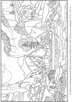 coloring pages - Color Your Own American Folk Art Paintings Dover Publications Samples Dover Coloring Pages, Pattern Coloring Pages, Cat Coloring Page, Free Adult Coloring, Coloring Pages For Kids, Coloring Books, Art Nouveau, Line Drawing, American Art