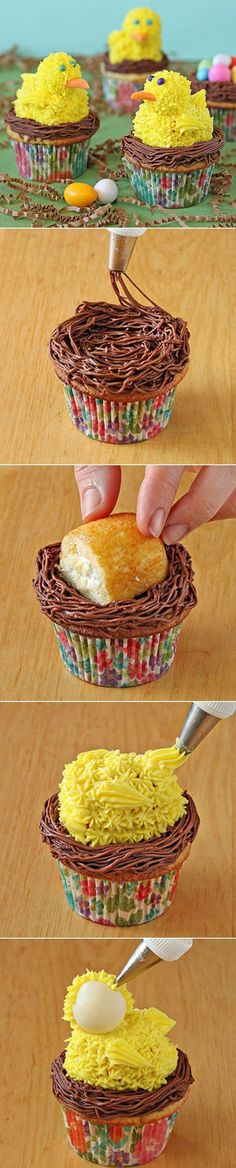 Chick Cupcakes ~ Edible chicks make the perfect toppers for these spring-theme cupcakes. The chicks are easily constructed out of snack cakes, truffles, and frosting, tucked into a chocolate frosting nest