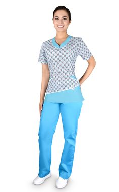 QX 53 Fantasía Cute Scrubs, Suit Pattern, Medical Uniforms, Nursing Clothes, Fashion Games, Work Wear, Print Patterns, Capri Pants, Casual Outfits