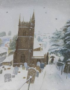 Nicholas Hely Hutchinson (b.1955) — Village Church in the Snow (623x800)