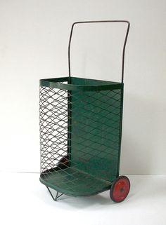 Vintage Metal Market Basket Cart with Wheels / by urgestudio