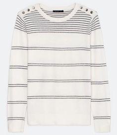 Blusa em Tricô com Detalhes em Metal no Ombro Branco Sweaters, Fashion, Metal Accents, Knit Sweaters, Shoulder, Shops, Tricot, Moda, La Mode
