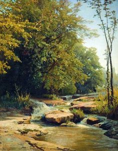 Landscape with mountain creek - Volodymyr Orlovsky - WikiArt.org
